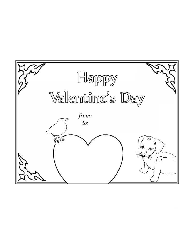 Valentine Day card coloring page free printable worksheet kids