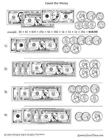 Bills, Coins - Counting Money - genius777.com PRINTABLES