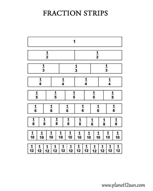 Strips   Fractions   Coloring   genius777.com PRINTABLES