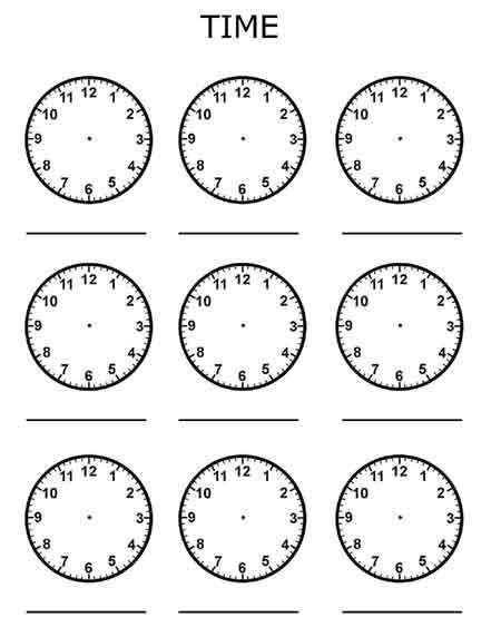clocks blank telling time free printable worksheet