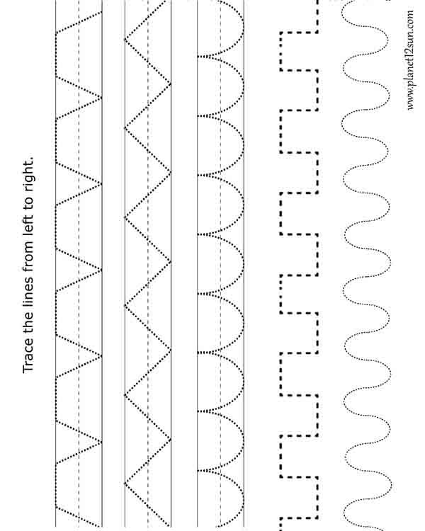trace the pattern free printable worksheet preschool