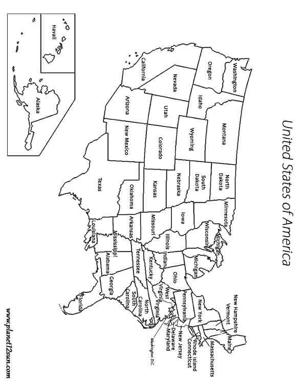 America map states geography free printable worksheet